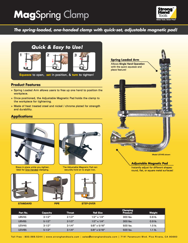 """Stronghand UDV45 3-1/2"""" MagSpring Sliding Arm Clamp 500lbs."""