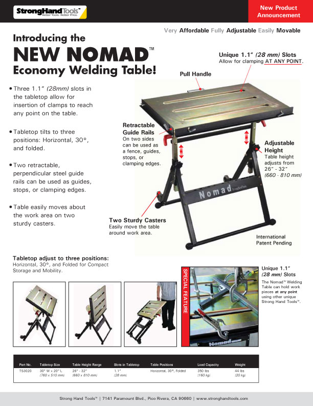 Stronghand Ts3020 The Nomad Economy Portable Welding Table